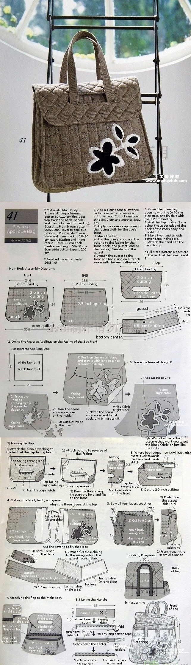 instructions for making a reverse-appliqued handbag